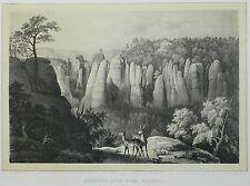 SÄCHSISCHE SCHWEIZ - Bastei - Elbstrom - Tonlithografie 1845