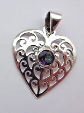 Superb Pierced Iridescent Sterling Silver Mystic Topaz Heart Pendant