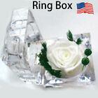 Clear Acrylic Ring Box Jewellery  Display Case Valentine Love Wedding]