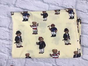 Ralph Lauren Polo RARE Yellow Teddy Bear Stripe FLAT TWIN SHEET 100% Cotton New