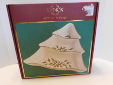 New Lenox Holiday Gold-Banded Tree-Shaped Divided Server