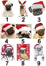 Christmas Pug Large Sticky White Paper Stickers Labels New