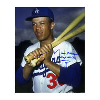 Maury Wills signed Los Angeles Dodgers 8x10 Photo MVP NL '62 (bats on shoulder)