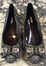 New  MIU MIU Silver glitter/bow jeweled Flat, Size 39/US 9