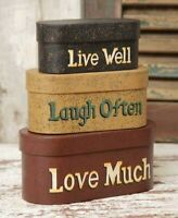 PRIMITIVE NESTING BOXES LIVE WELL LAUGH OFTEN LOVE MUCH STACKING STORAGE 3 PCS