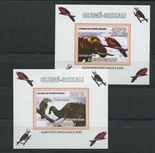 Elephants Birds 2 mnh Imperf Souvenir Sheets 2008 Guinea-Bissau