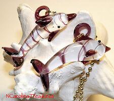 Dolphin Porpoise Purple Ocean Murano Glass Ceiling Fan Pull Pulls Lg Pair D805