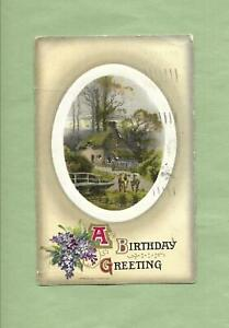 COUNTRY COTTAGE, COWS On Lovely JOHN WINSCH Vintage 1910 BIRTHDAY Postcard