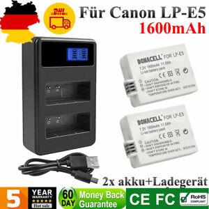 2x LP-E5 AKKU + LCD Dual Ladegerät Für Canon EOS 450D 500D 1000D Kiss F X2 X3