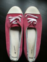 Womens Size 6 Lacoste Pink Lace Up Flat Trainer Plimsoll Pumps <LR706