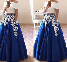 Trendy Two Pieces Lace Blue Evening Dress Party Prom Formal Ball Gown Custom