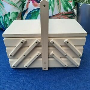 Wooden Reclinable Thread Box Sewing Box with 5 Cases 3 Tier Needle Natural Wood