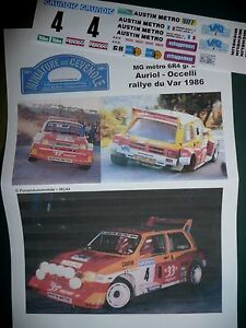 "MC43 DECAL  ADD 1:18 - MG METRO 6R4 - ""33"" - AURIOL - RALLYE DU VAR 1986 (OTTO)"