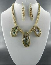 Gold and Abalone Necklace Set