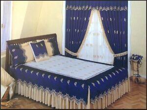 9tlg. Luxus Tagesdecke 200 x 210cm Decke Kissen Vorhänge & Gardine ANABELLA NEU!