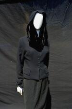 vintage Plein Sud tailored short jacket velvet hood collar cape France size 40/8