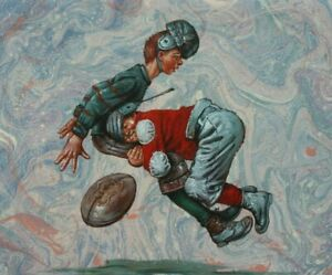 """24""""x 20"""" Oil Painting on Canvas, A Hard Tackle"""