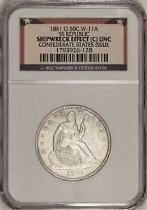 1861-O Seated Liberty Half Dollar W-11a CSA Issue Die Crack! NGC Shipwreck