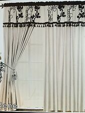 Embroidered Curtain Set. 4 Piece Cream Beige Drapes with Valance & Tie Backs