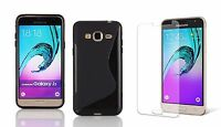 BLACK S-LINE TPU CASE + SCREEN PROTECTOR FOR CRICKET SAMSUNG GALAXY AMP PRIME