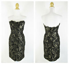 Vintage Victor Costa Gold Metallic Lace Overlay Strapless Dress Size 8 Formal