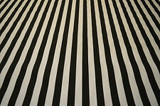 BEETLE JUICE BLACK & WHITE 1 INCH STRIPE STRETCH COTTON TWILL FABRIC PER METRE