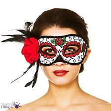 Adult Masquerade Rose Feather Sugar Skull Eyemask Eye Mask Halloween Fancy Dress