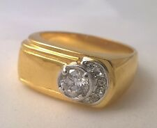 G-Filled Men's 18ct yellow gold simulated diamond ring Gents bling USA size 10