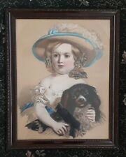 More details for cavalier king charles spaniel with young girl large dog print framed & glazed