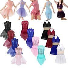 Girls Ballet Lyrical Jazz Dance Dress Kids Sequins Skating Leotard Show Costumes