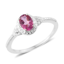 Pure Pink Mystic Topaz, White Topaz Sterling Silver Ring (Size 8.0) TGW 1.08 cts