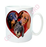 Dachshund Mug Gift, 3 Coloured Dachshunds in Hearts Mug Birthday Mothers Day