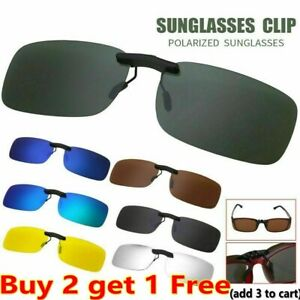 Clip On Sunglasses Glasses Polarized Night Vision Driving Lens Eyewear