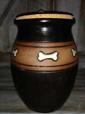 Rare Unique Dog Bone Crock With Cork Lid Hold Dog Treats ceramic Rare