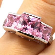 Sparkling Solitaire Pink Sapphire Ring Women Wedding Engagement Birthday Jewelry