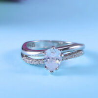 Women 925 Silver Wedding Ring Jewelry Pear Cut White Sapphire Ring Size 6-10