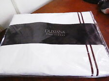 Sferra DUXIANA KING Duvet Cover White / Brown Percale Grand Hotel  ITALY - NEW!