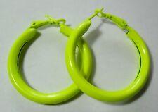 Bijou fantaisie : boucles d'oreille créoles rondes jaune fluo , Diam  4 cm
