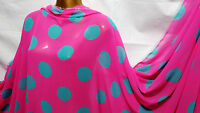 *NEW*Soft Touch Pink/Aqua chiffon Polka Dot Print Dress/Craft Fabric *FREE P&P*