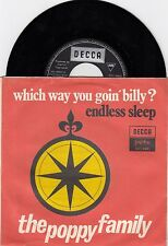"THE POPPY FAMILY WHICH WAY YOU GOIN' BILLY UNIQUE COVER RECORD YUGOSLAVIA 7"" PS"