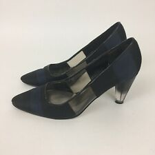 Abaete By Payless Black Navy Blue Size 6 Heel Women's Shoe S05