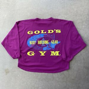 Vintage Gold's Gym Maroon Long Sleeve Sweater Shirt Crop Bodybuilding 80s 90s