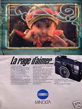 PUBLICITÉ APPAREIL PHOTO LE HI MATIC AF2 MINOLTA LA RAGE D'AIMER