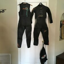 Womens Large Ironman Stealth Full Wetsuit & Zoot Fuzion Sleeveless + Storage Bag