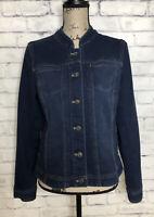 J Jill Stretch Jean Jacket Womens Size S Blue Denim Pockets Collarless