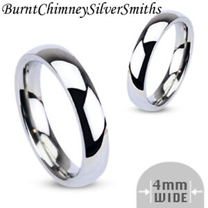 Classic Wedding Band Stainless Steel Ring 4mm Laser Engraving Optional