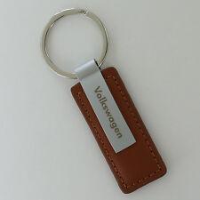 Volkswagen Brown Leather Rectangular Key Chain