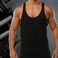 MENS GYM VEST PLAIN STRINGER BODYBUILDING MUSCLE TRAINING TOP FITNESS SINGLET
