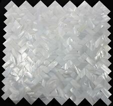 HERRINGBONE Mother of Pearl Seamless Mosaic Backsplash Wall Tile White Tiles Bar
