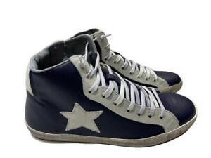 scarpe sneakers alte uomo Via Condotti pelle blu stella ghiaccio nuovo bicolor